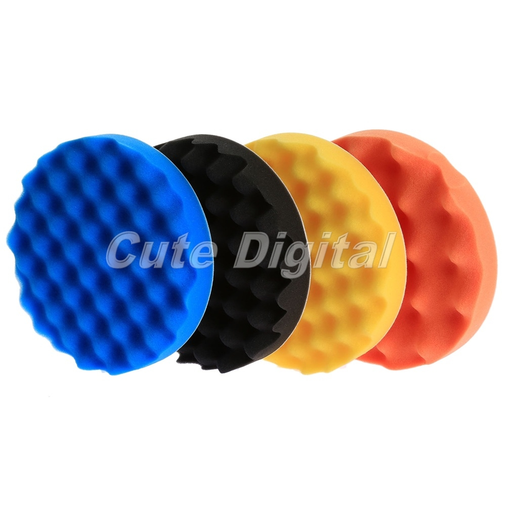 "4Pcs 3""/4""/5""/6""/7""Car Polishing Waffle Sponge Pads Waxing"