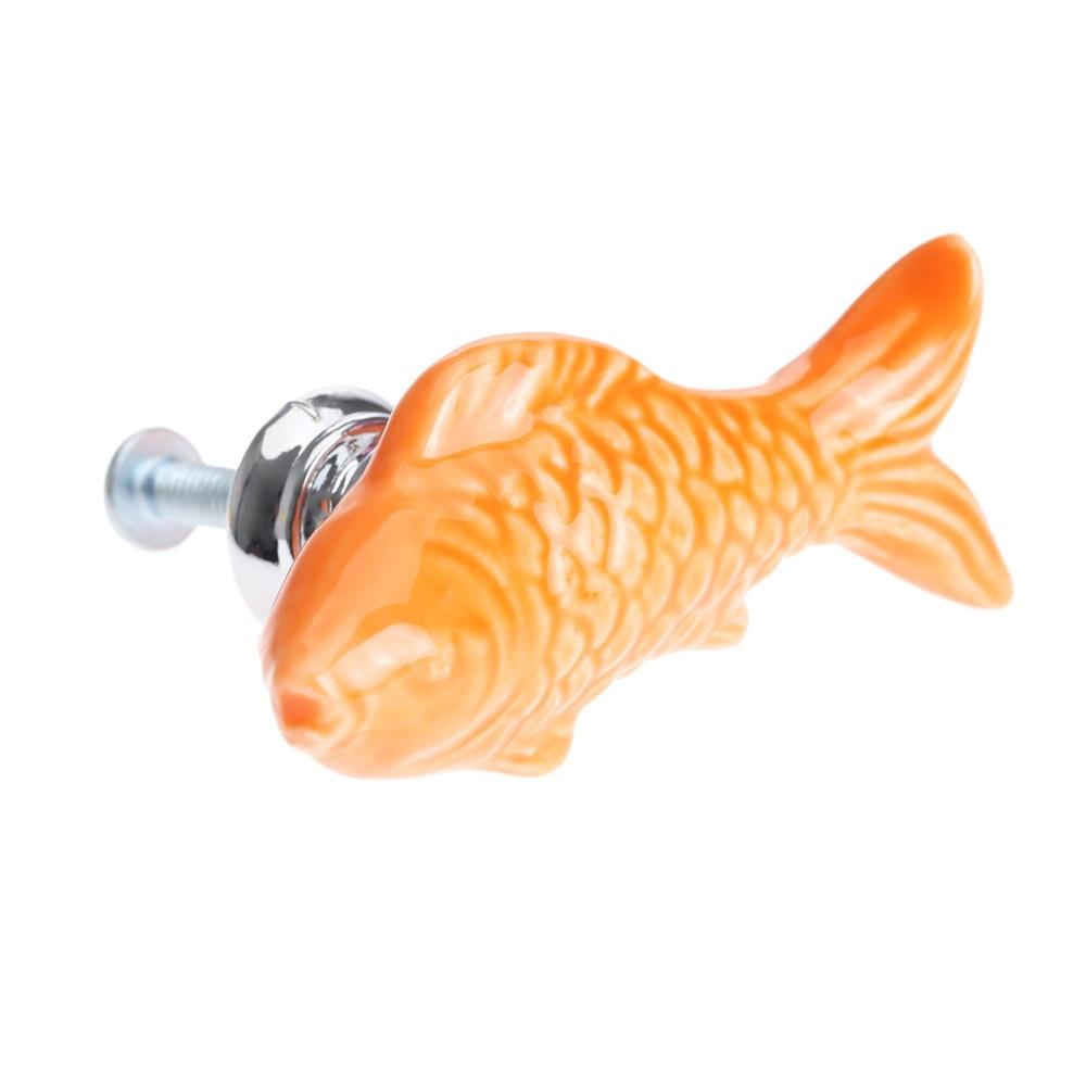 Carp fish ceramic door knob drawer cabinet cupboard pull for Fish cabinet knobs